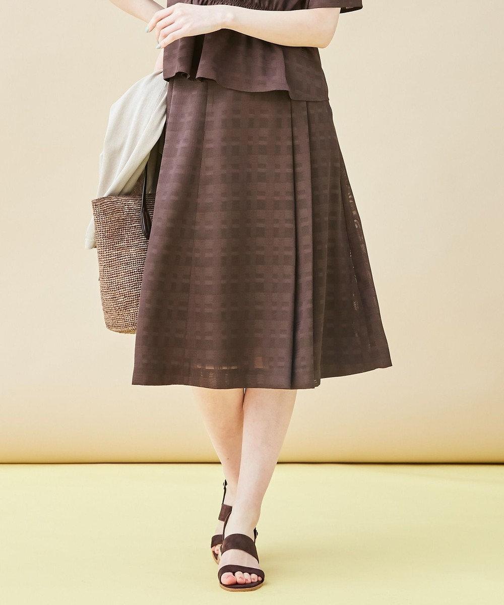 J.PRESS LADIES L 【洗える】からみチェック スカート ブラウン系