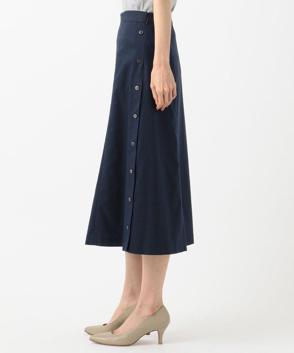 J.PRESS LADIES S 【シワになりにくい】洗えるFITTY FLAX スカート ネイビー系
