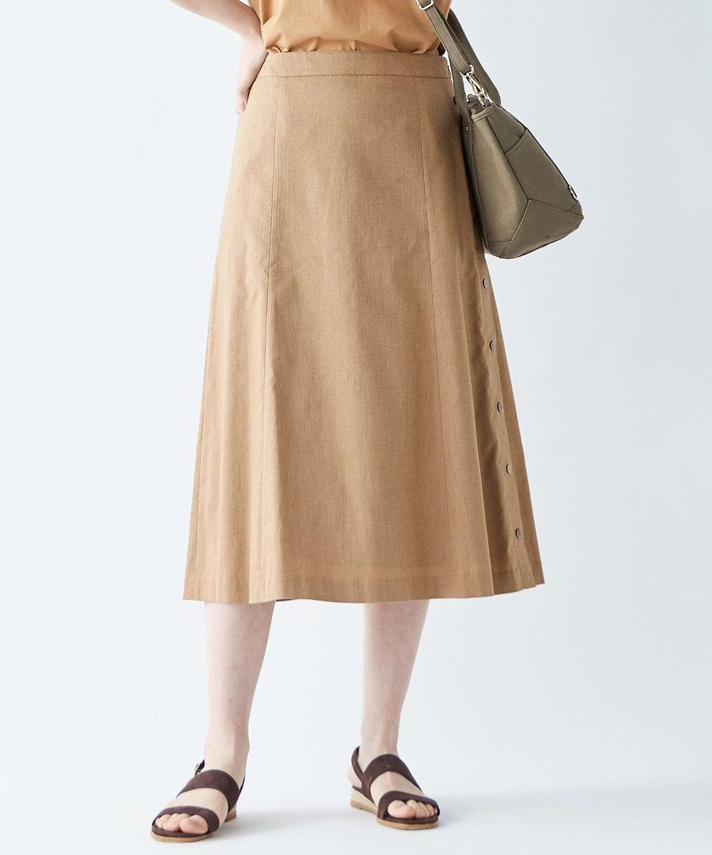 J.PRESS LADIES S 【シワになりにくい】洗えるFITTY FLAX スカート キャメル系