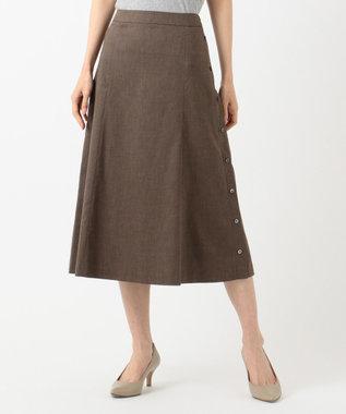 J.PRESS LADIES S 【シワになりにくい】洗えるFITTY FLAX スカート ブラウン系