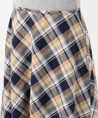 J.PRESS LADIES S 【洗える】BEZ TEKSTIL社マドラスチェック スカート ネイビー系5