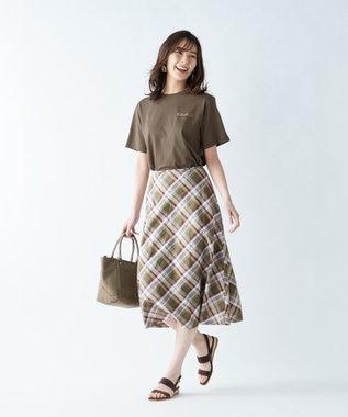 J.PRESS LADIES S 【洗える】BEZ TEKSTIL社マドラスチェック スカート カーキ系5