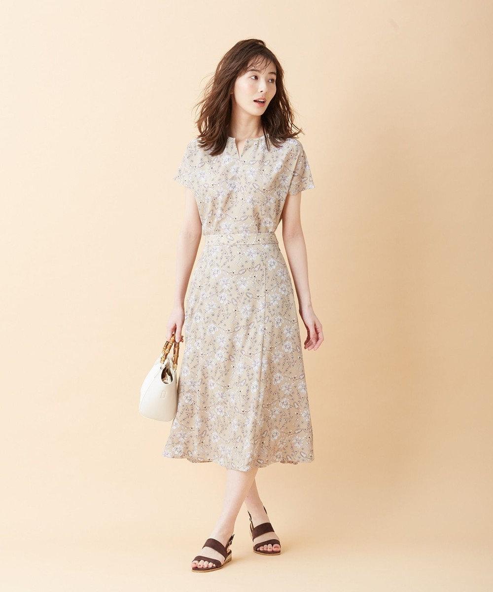 J.PRESS LADIES 【洗える】ポリエステルデシン更紗プリント スカート ベージュ系5