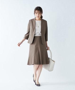 J.PRESS LADIES 【シワになりにくい】コットンフィッティーシャーク スカート ダークブラウン系