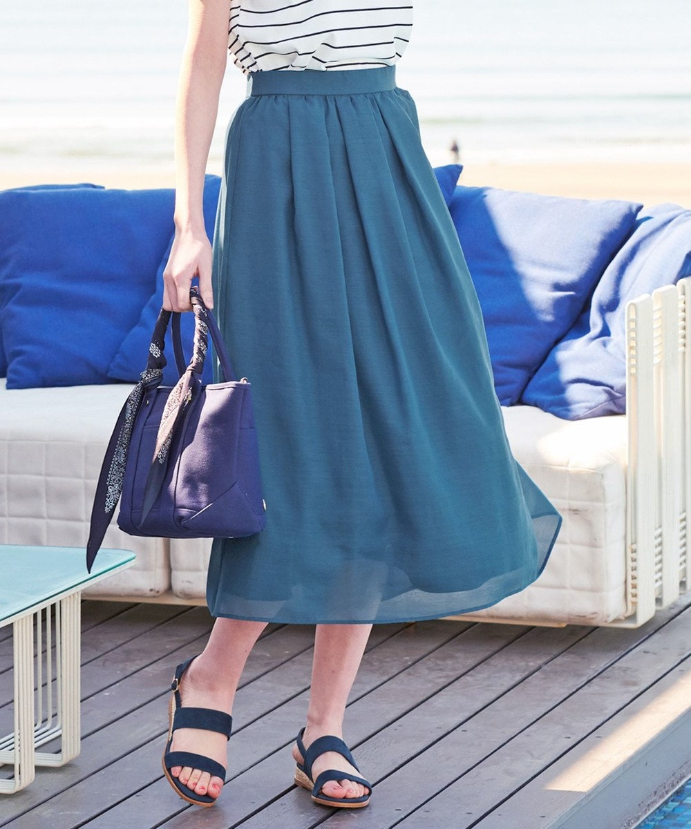 J.PRESS LADIES S 【WEB限定色あり】洗えるブライトスパンボイル スカート グリーン系1