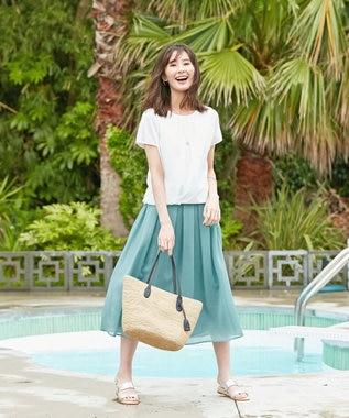 J.PRESS LADIES S 【WEB限定色あり】洗えるブライトスパンボイル スカート [WEB限定]グリーン系2