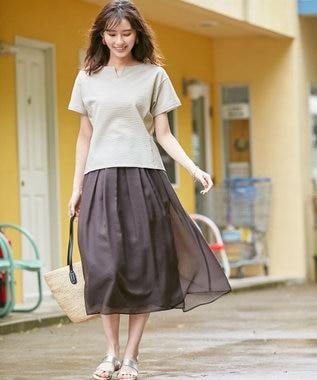 J.PRESS LADIES S 【WEB限定色あり】洗えるブライトスパンボイル スカート ダークブラウン系