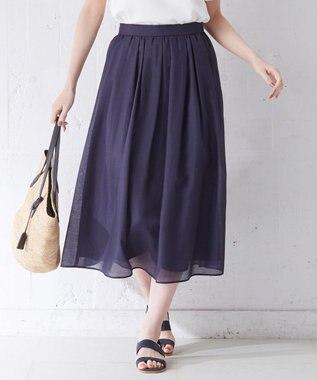 J.PRESS LADIES S 【WEB限定色あり】洗えるブライトスパンボイル スカート ネイビー系