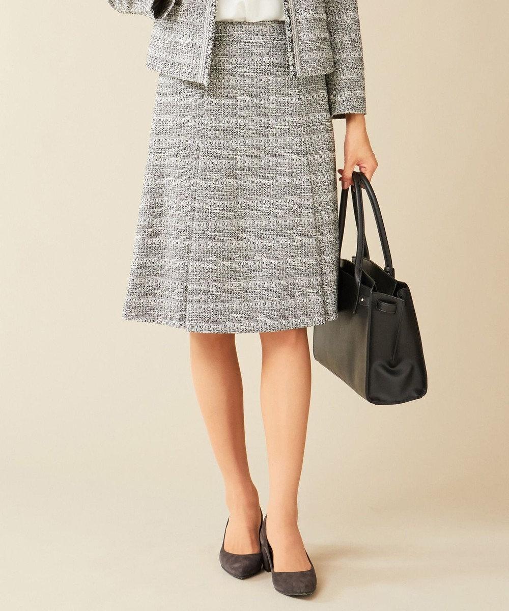 J.PRESS LADIES S 【セットアップ対応】ファンシーツイード スカート ホワイト系