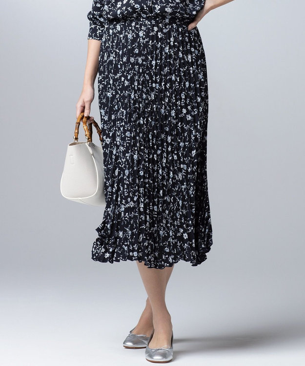 J.PRESS LADIES 【洗える】フラワープリント プリーツ スカート