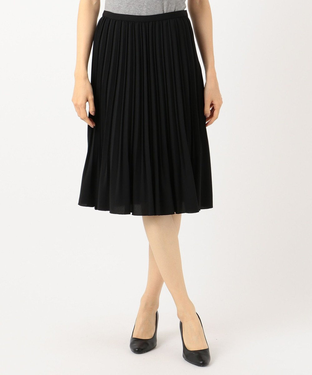J.PRESS LADIES ノルディス ジョーゼット プリーツスカート ブラック系
