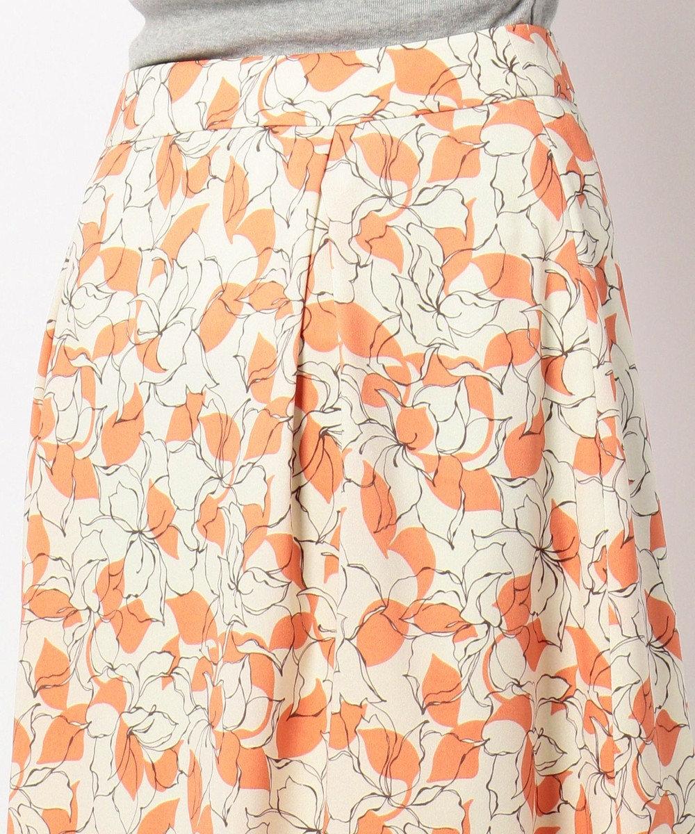 J.PRESS LADIES S 【洗える】P/シャドーフラワーPT スカート オレンジ系5