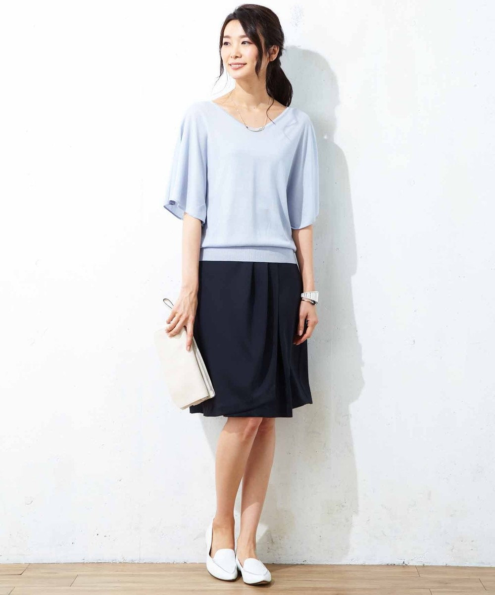 J.PRESS LADIES S 【洗える】シルルージュツイル スカート ネイビー系