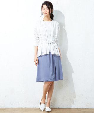 J.PRESS LADIES S 【洗える】シルルージュツイル スカート サックスブルー系