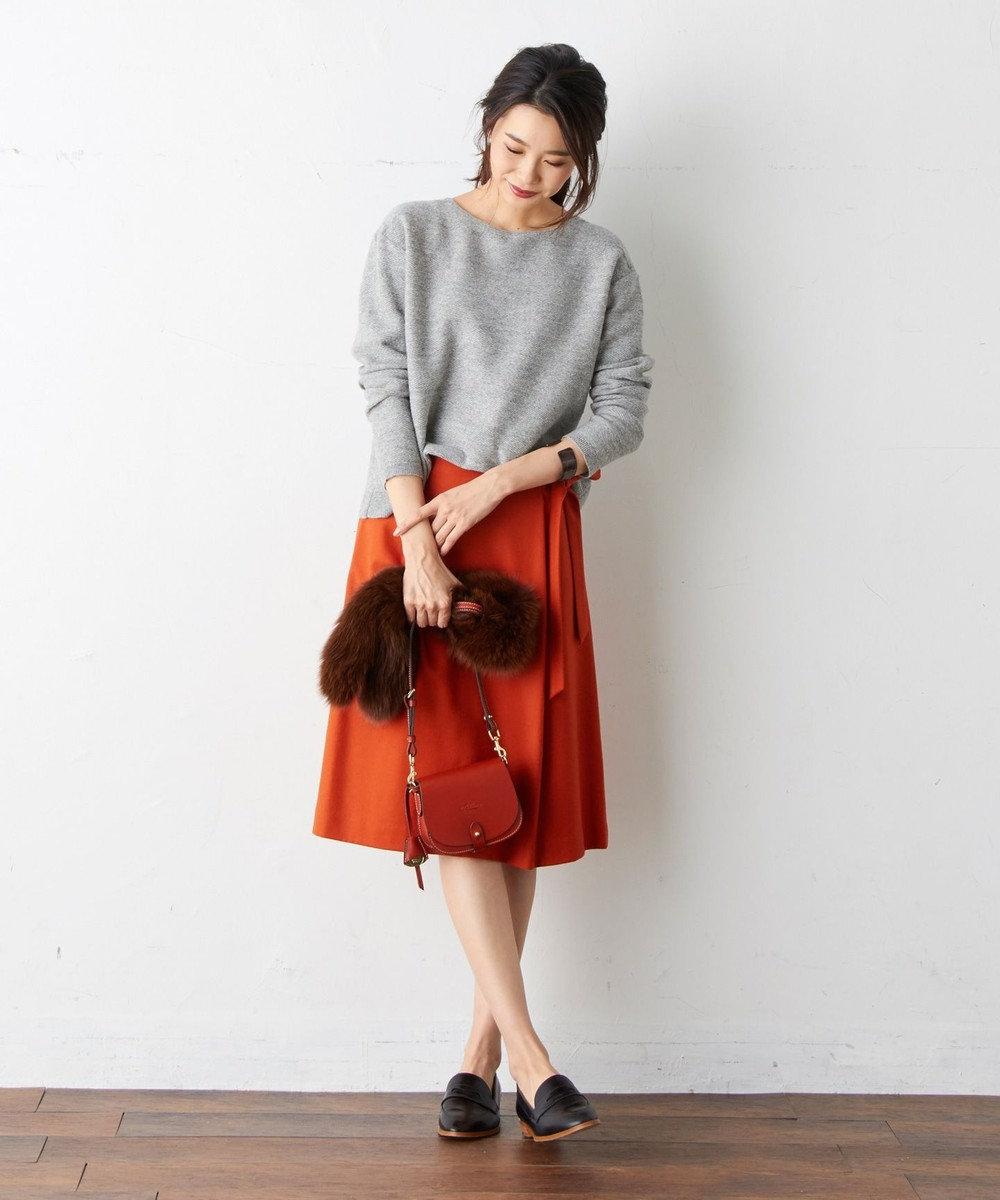 J.PRESS LADIES S カシミヤ混フラノ 腰リボン付きスカート オレンジ系