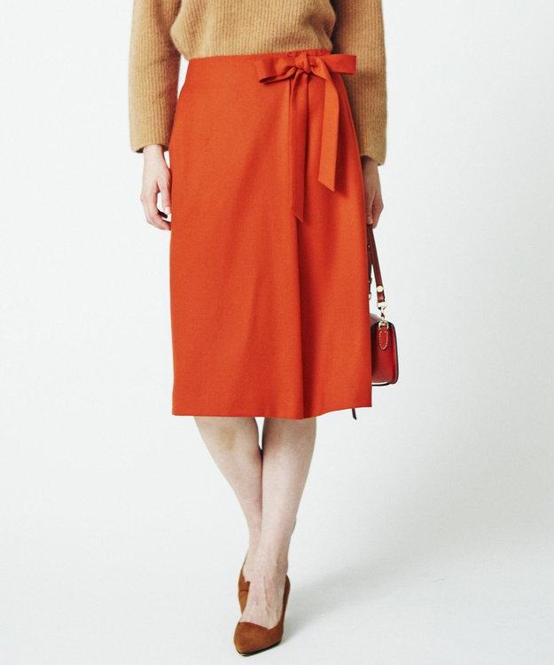 J.PRESS LADIES S カシミヤ混フラノ 腰リボン付きスカート