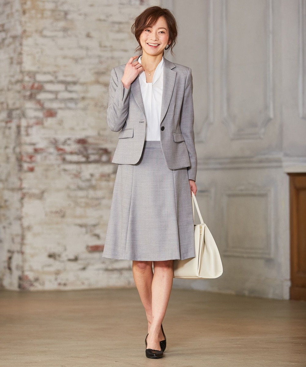 J.PRESS LADIES S 【セットアップ対応】シルクウールスーティング スカート グレー系