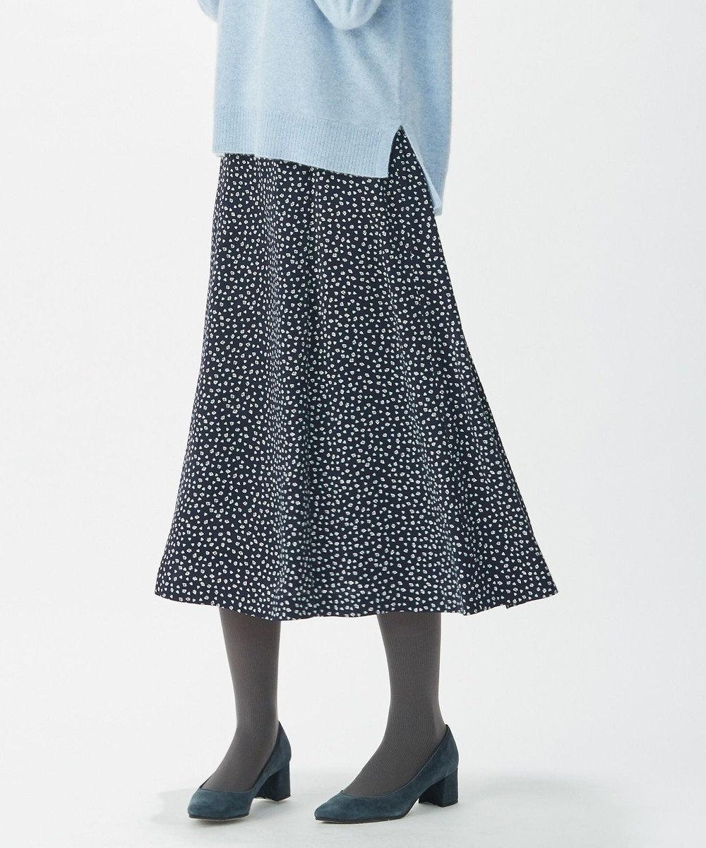 J.PRESS LADIES 【洗える】ジオメトリック フラワープリント スカート ネイビー系5