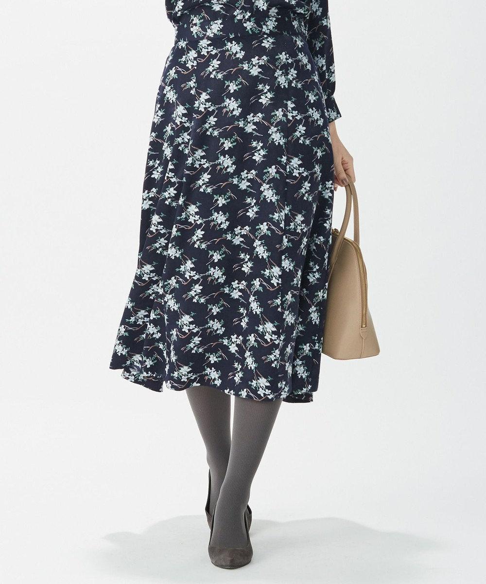 J.PRESS LADIES S 【洗える】ジオメトリック フラワープリント スカート ネイビー系6