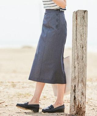 J.PRESS LADIES L 【色落ちしにくい】TENCEL DENIM スカート ネイビー系