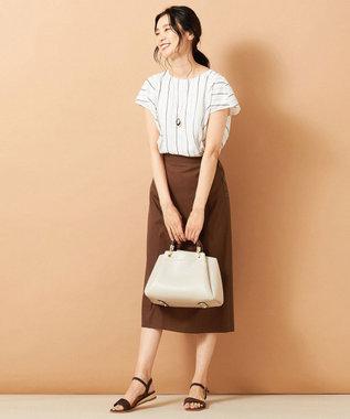 J.PRESS LADIES L 【色落ちしにくい】TENCEL DENIM スカート ブラウン系