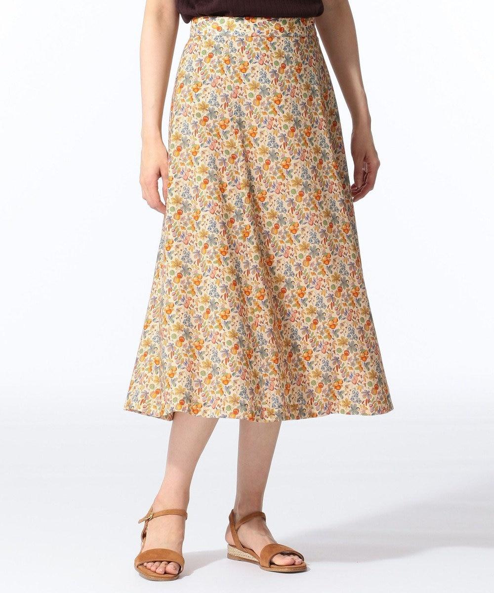 J.PRESS LADIES S 【セットアップ対応】LIBERTY CHESTNUTS プリント スカート ライトオレンジ系5