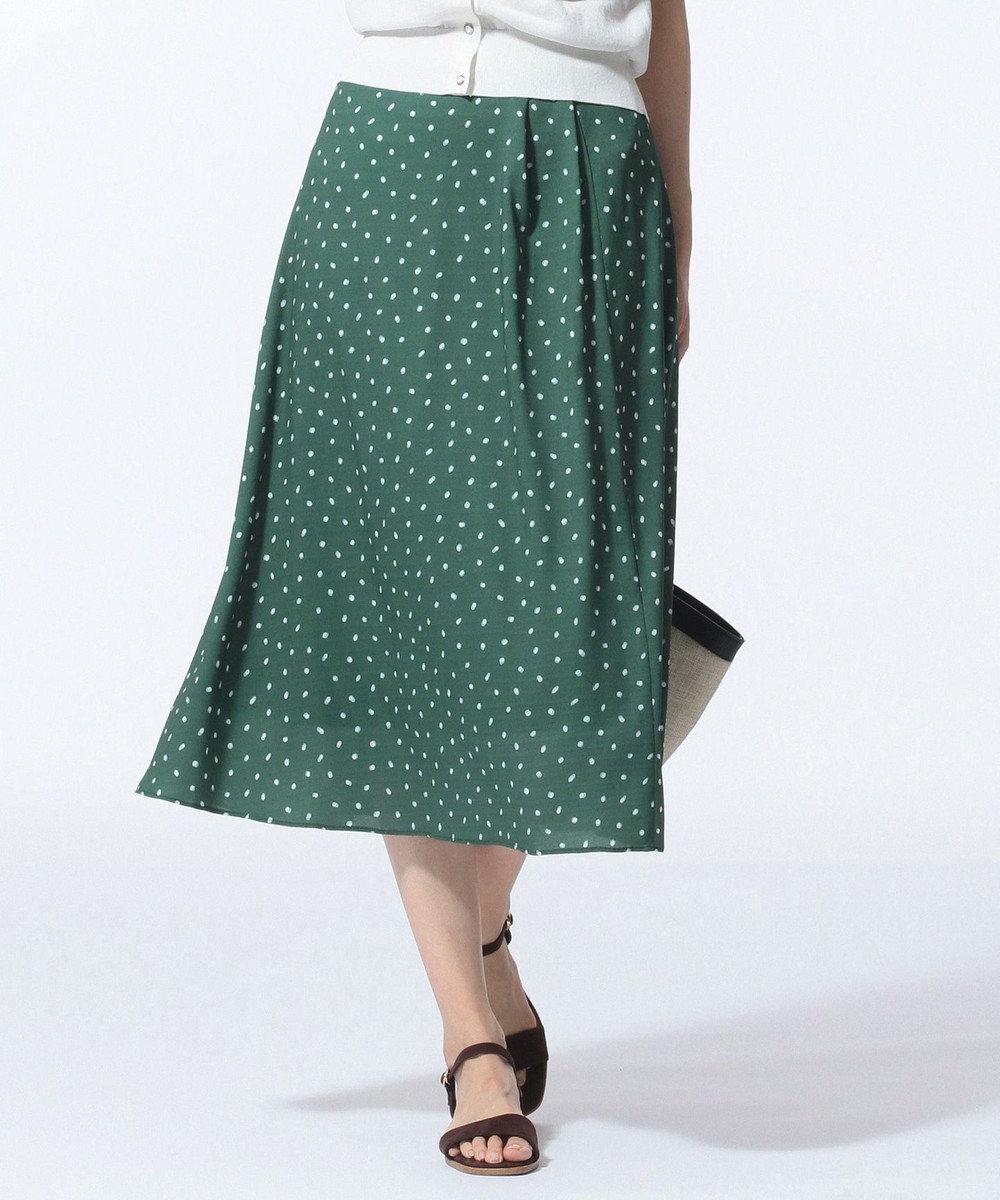 J.PRESS LADIES S 【セットアップ対応】ランダムドットプリント スカート グリーン系5