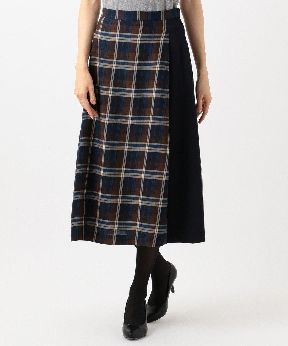 J.PRESS LADIES S コットンリヨセルチェック スカート ネイビー系4
