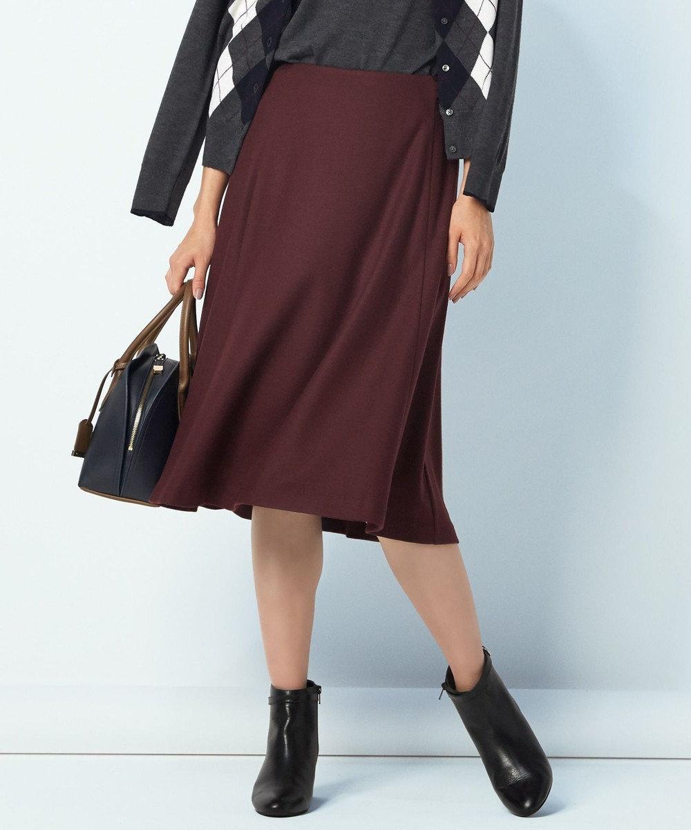 J.PRESS LADIES L 【洗える】ウールスムースジャージー スカート パープル系