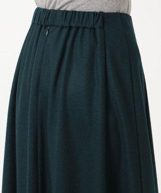 J.PRESS LADIES L 【洗える】ウールスムースジャージー スカート ダークグリーン系