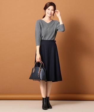 J.PRESS LADIES L 【洗える】ウールスムースジャージー スカート ネイビー系