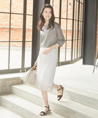 J.PRESS LADIES S 【2019春のWEB限定】ISABEL LACE レース スカート [WEB限定]ライトグレー