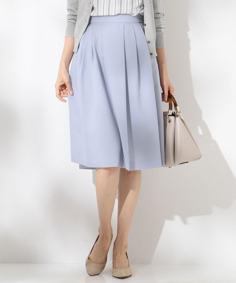 J.PRESS LADIES S 【洗える】ナチュラルドライツイル フレアスカート サックスブルー系