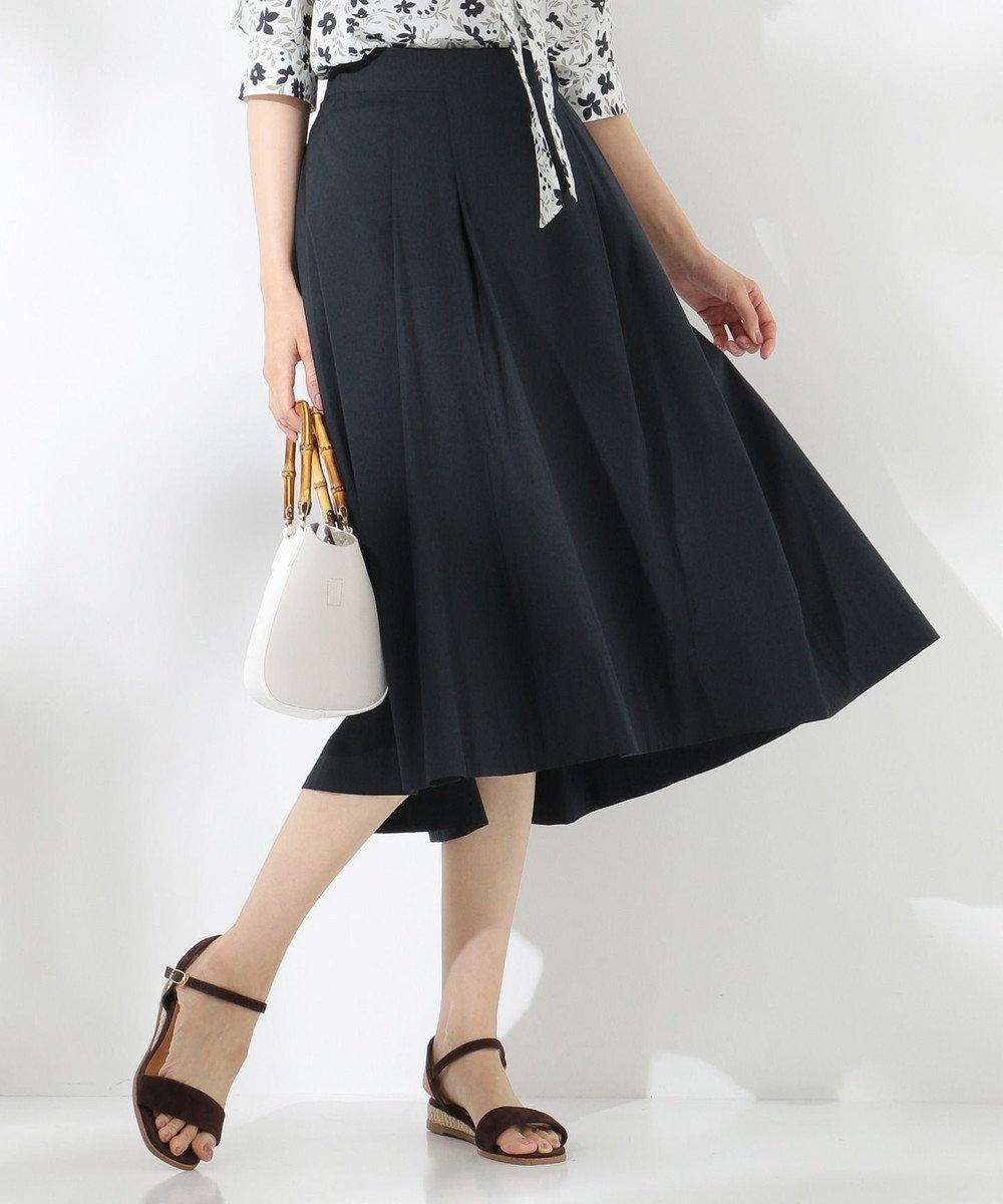 J.PRESS LADIES L 【洗える】コットンナイロンシルキーローン スカート ネイビー系