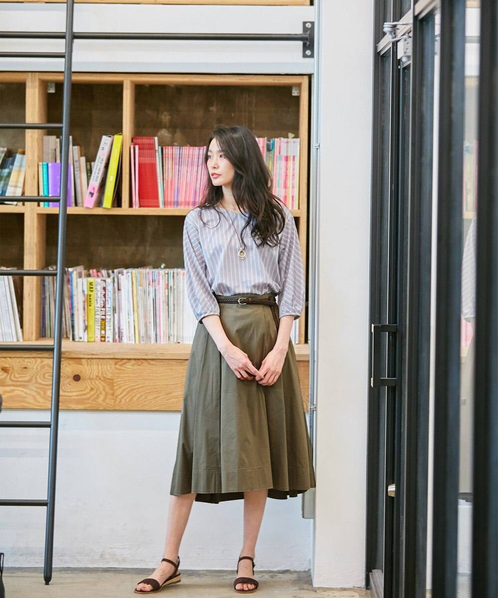 J.PRESS LADIES L 【洗える】コットンナイロンシルキーローン スカート カーキ系