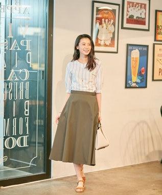 J.PRESS LADIES S 【接触冷感】タスランチノクロス スカート カーキ系