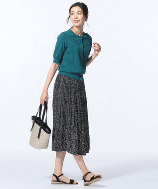 J.PRESS LADIES S 【洗える】ランダムドット プリーツスカート ブラック系5