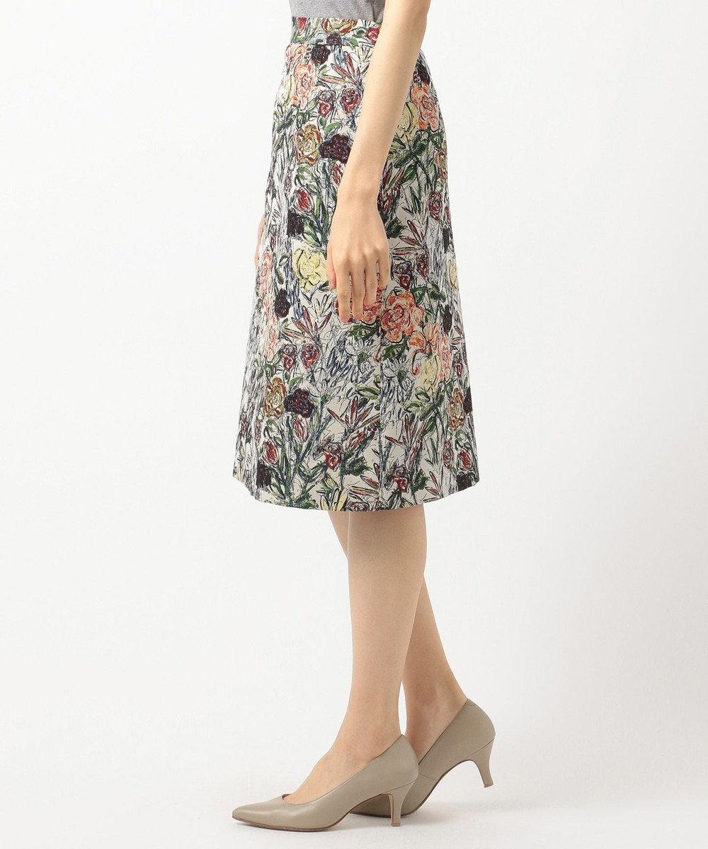 J.PRESS LADIES L NERO SU NERO ジャカード スカート オレンジ系6