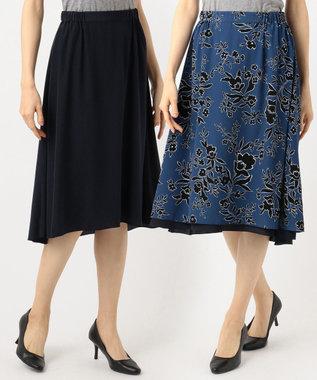 J.PRESS LADIES S 【リバーシブル】モダンフラワープリント スカート ブルー系6