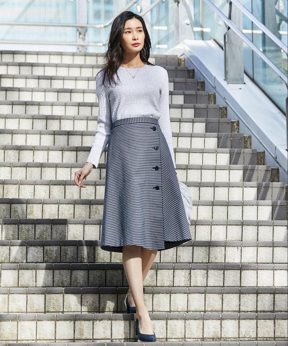 J.PRESS LADIES L 【撥水加工】ドライチェック ミディ丈 スカート ネイビー系3