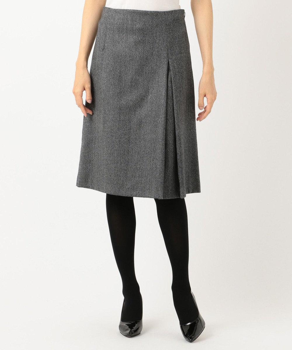 J.PRESS LADIES ウールストレッチツイード スカート グレー系