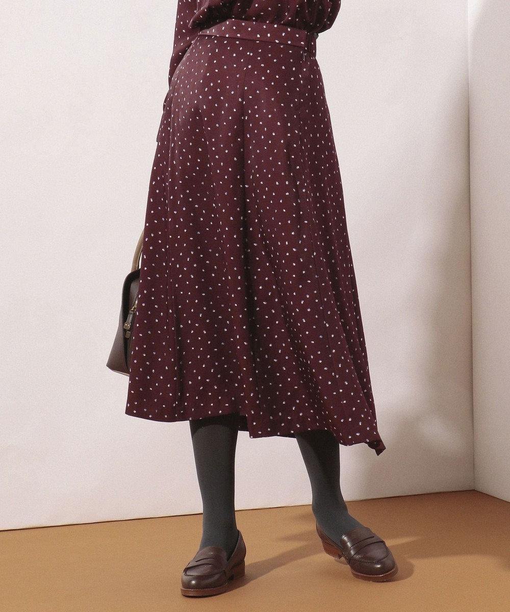 J.PRESS LADIES 【洗える】SWEET DOTプリント スカート ワイン系5