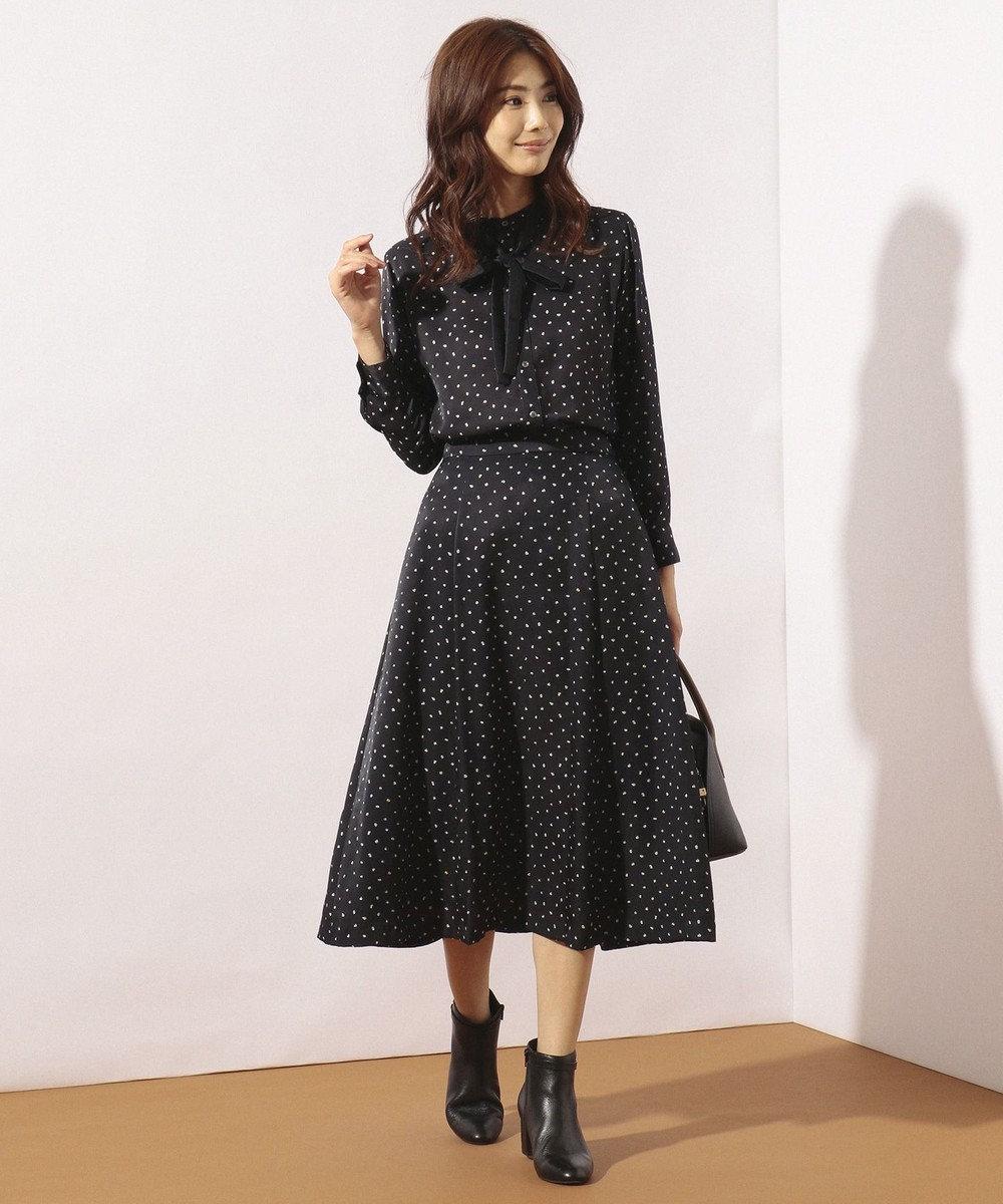 J.PRESS LADIES 【洗える】SWEET DOTプリント スカート ネイビー系5