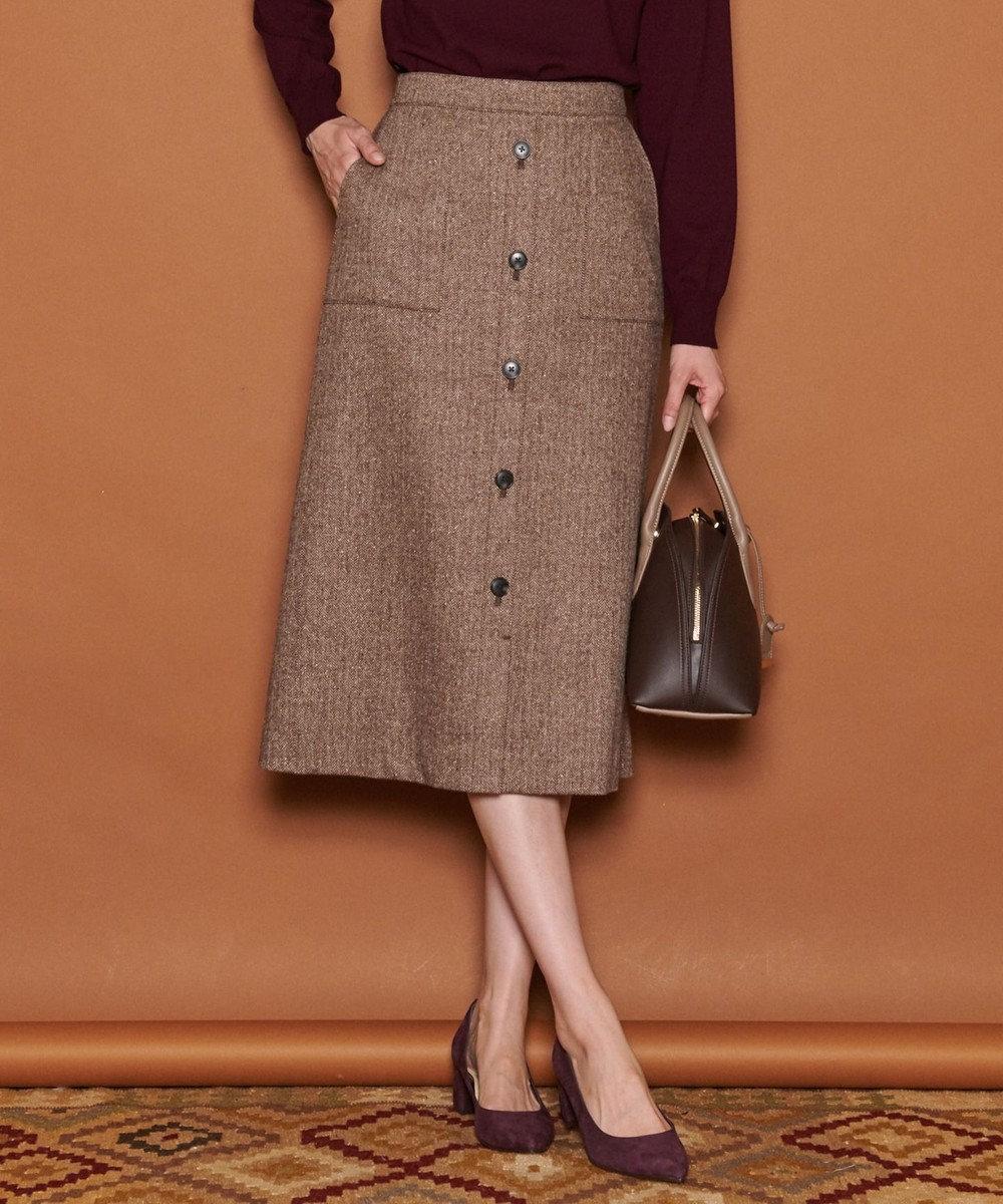 J.PRESS LADIES L ヴィクトリアヘリンボンストレッチ スカート ブラウン系