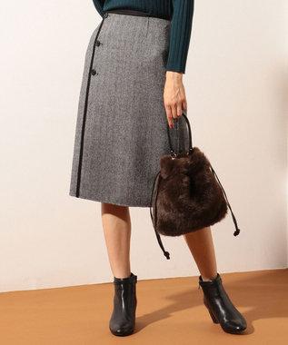 J.PRESS LADIES L 【リバーシブル】ウールリバーチェック スカート グレー系5