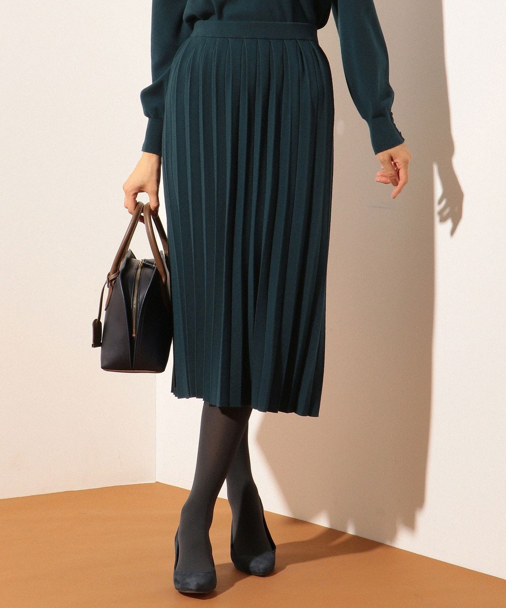 J.PRESS LADIES 【洗える】ウールストレッチニット プリーツスカート ダークグリーン系