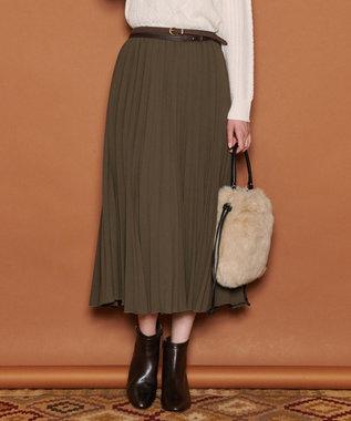 J.PRESS LADIES L ノルディス2WAYジョーゼット プリーツスカート カーキ系