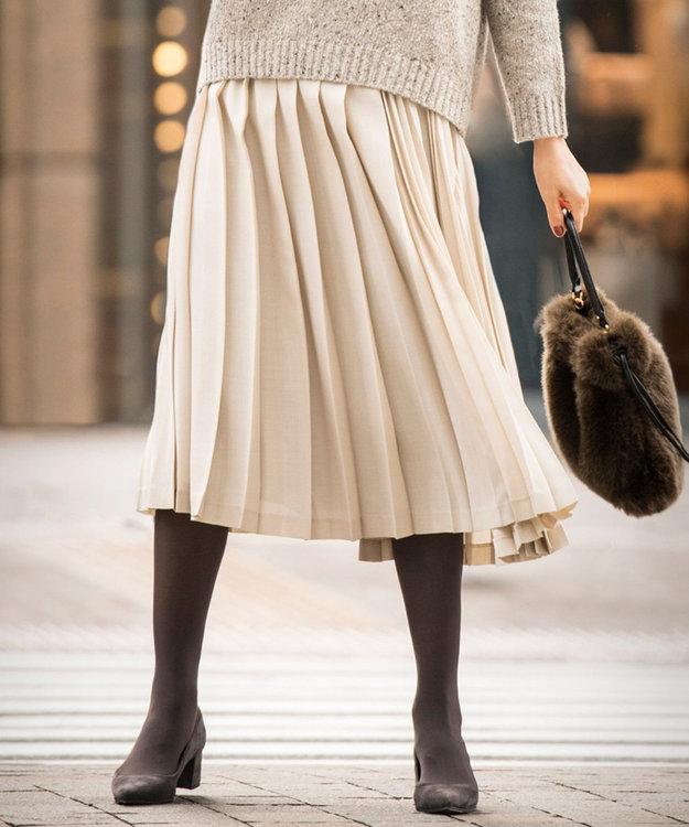 J.PRESS LADIES L TWドライビエラ アシンメトリー プリーツスカート