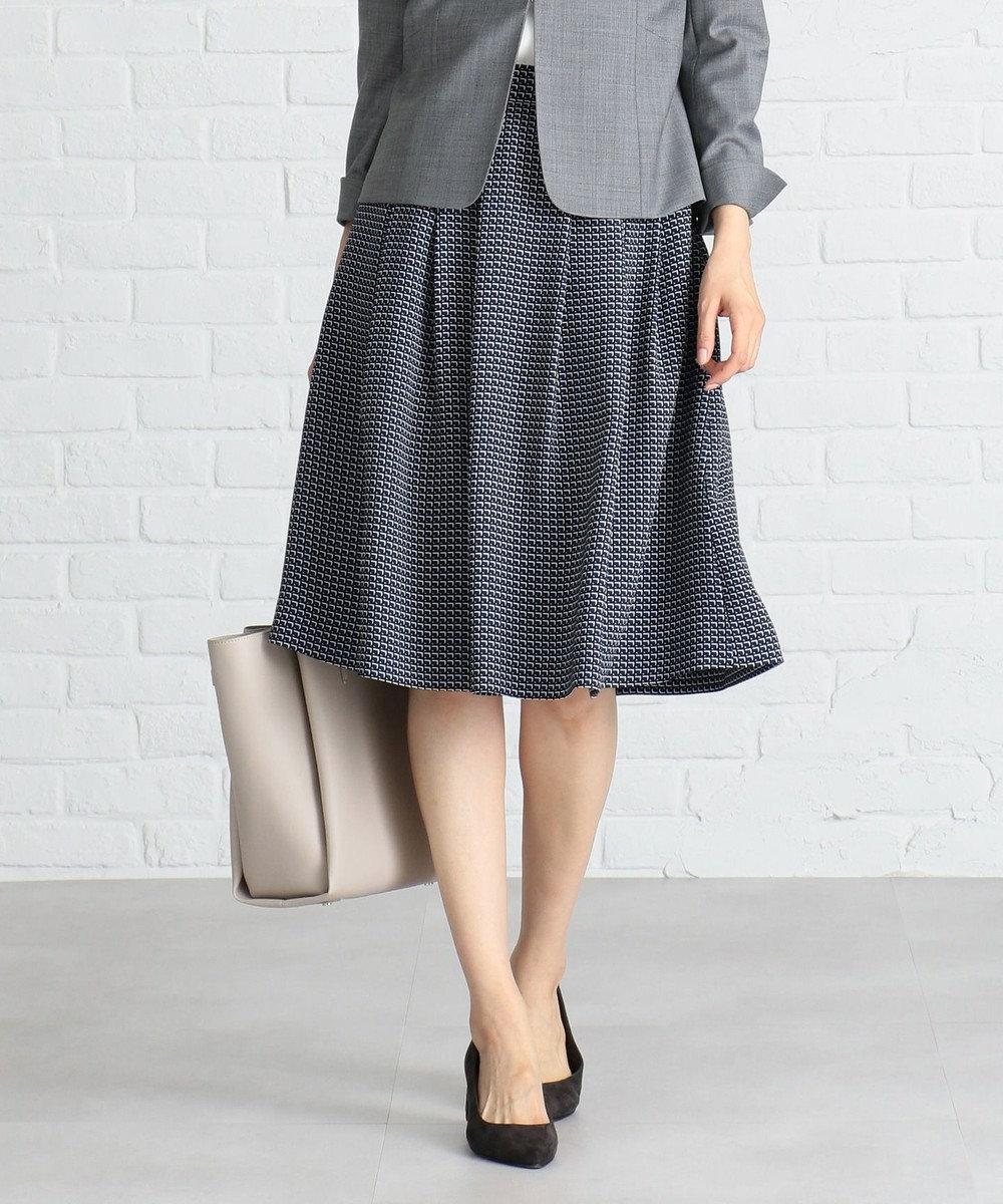 J.PRESS LADIES L 【洗える】Geometric Poly Twill スカート ブルー系5