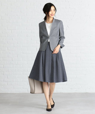 J.PRESS LADIES S 【洗える】Geometric Poly Twill スカート ブルー系5
